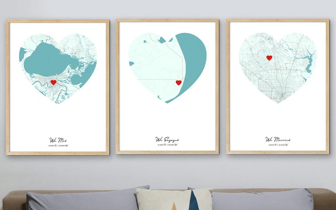 Where We Met Map with We Engaged and We Married Maps