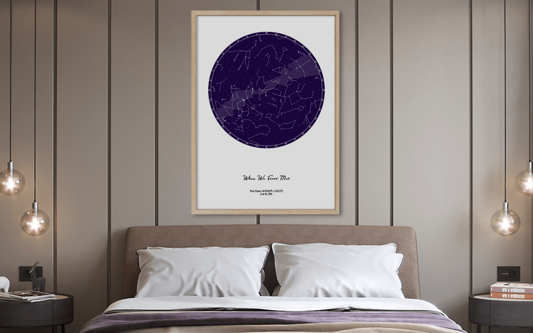 Custom color star map above bed