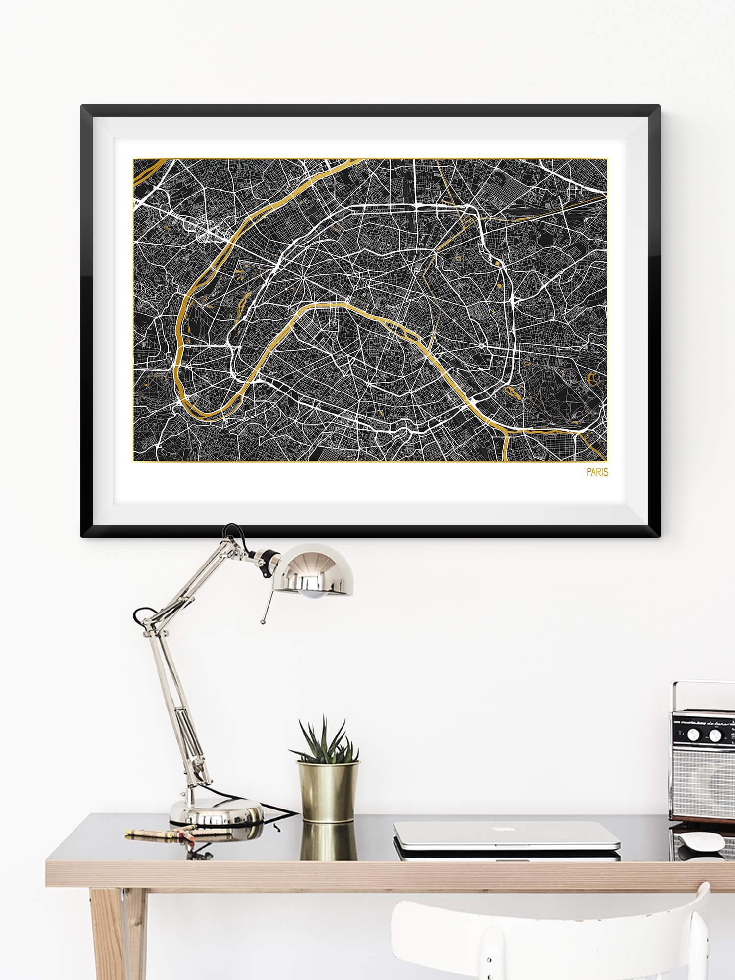 Gold Foil Paris Map | Real Gold Foil Art Print