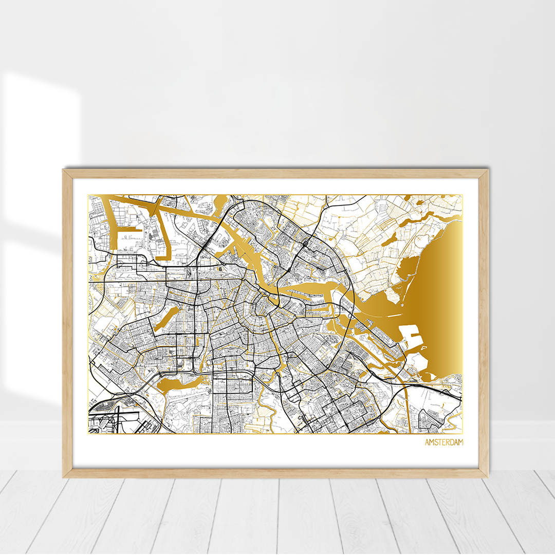 Gold Map Poster of Amsterdam | Positive Prints