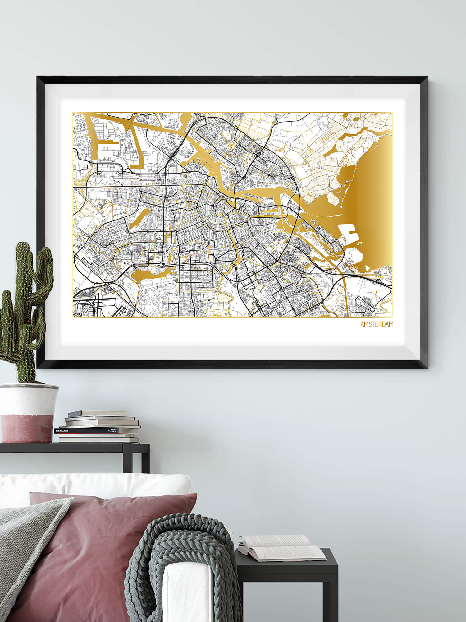 Amsterdam Gold Map Print in White | Beautiful gold wall art