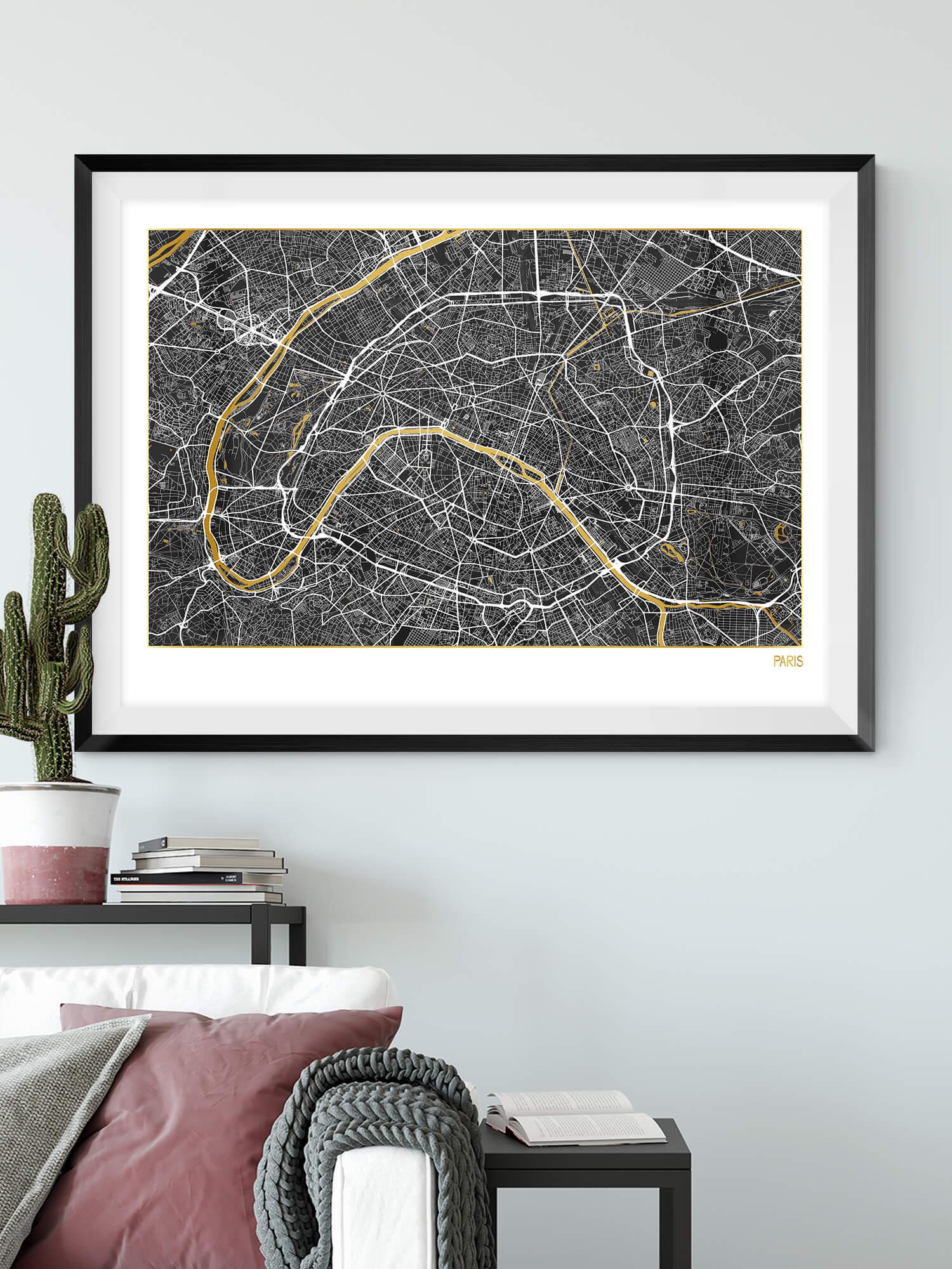 Paris Gold Map Poster in Black | Paris Black Gold Map Art