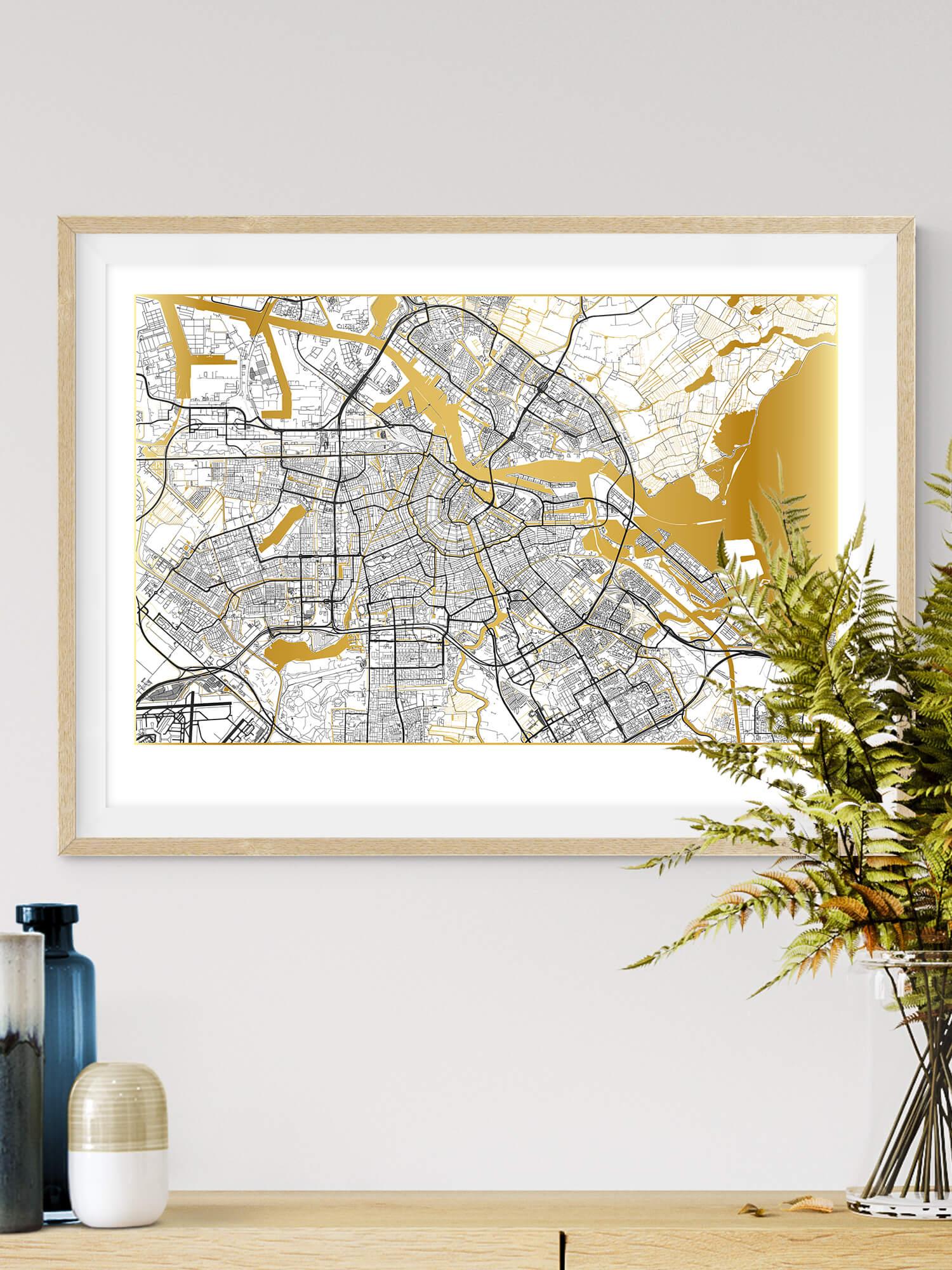 Beautiful Gold Wall Art | Map of City of Amsterdam
