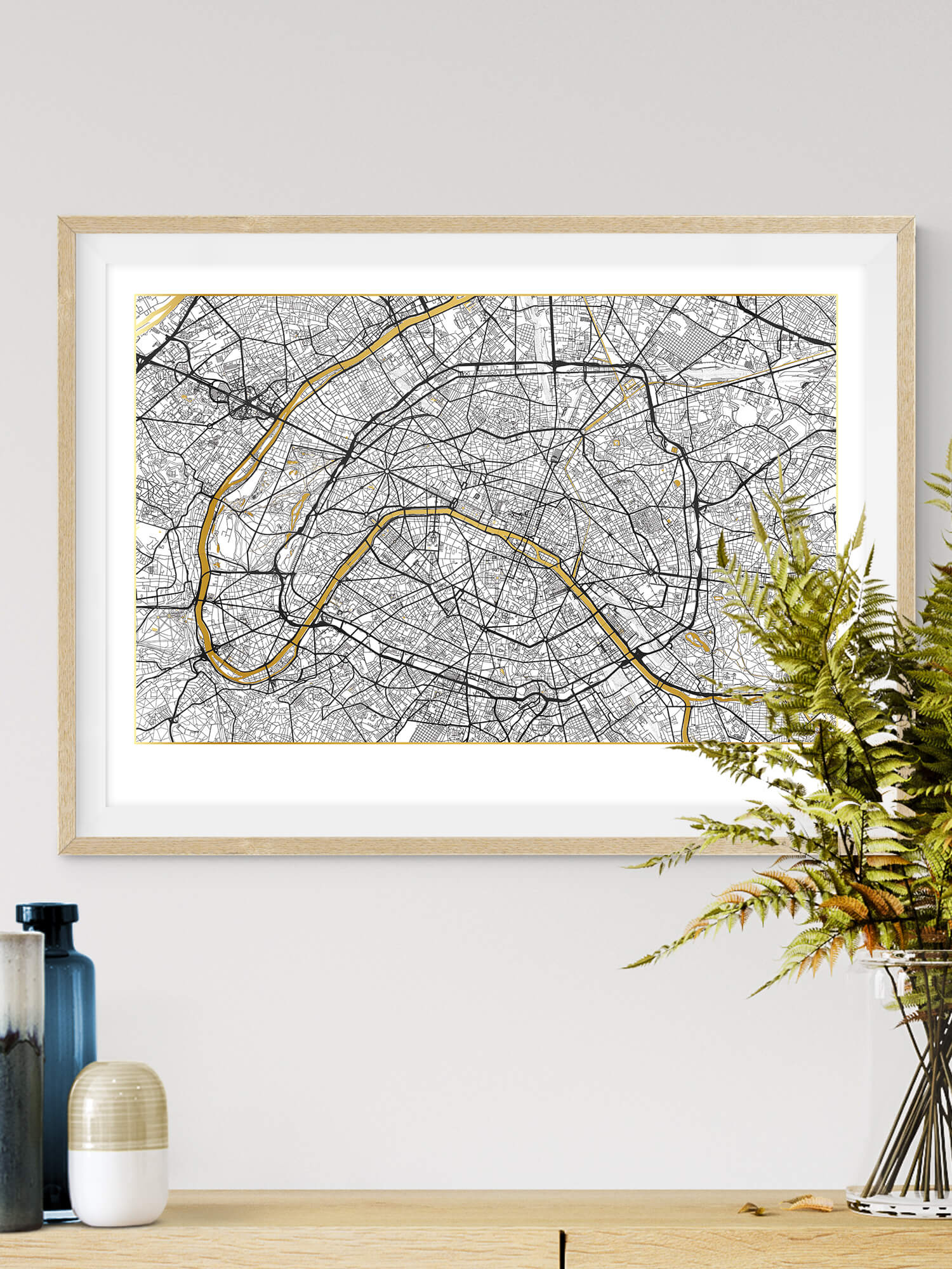 Paris Gold Map Poster in White | Paris White Exclusive Gold Map Art