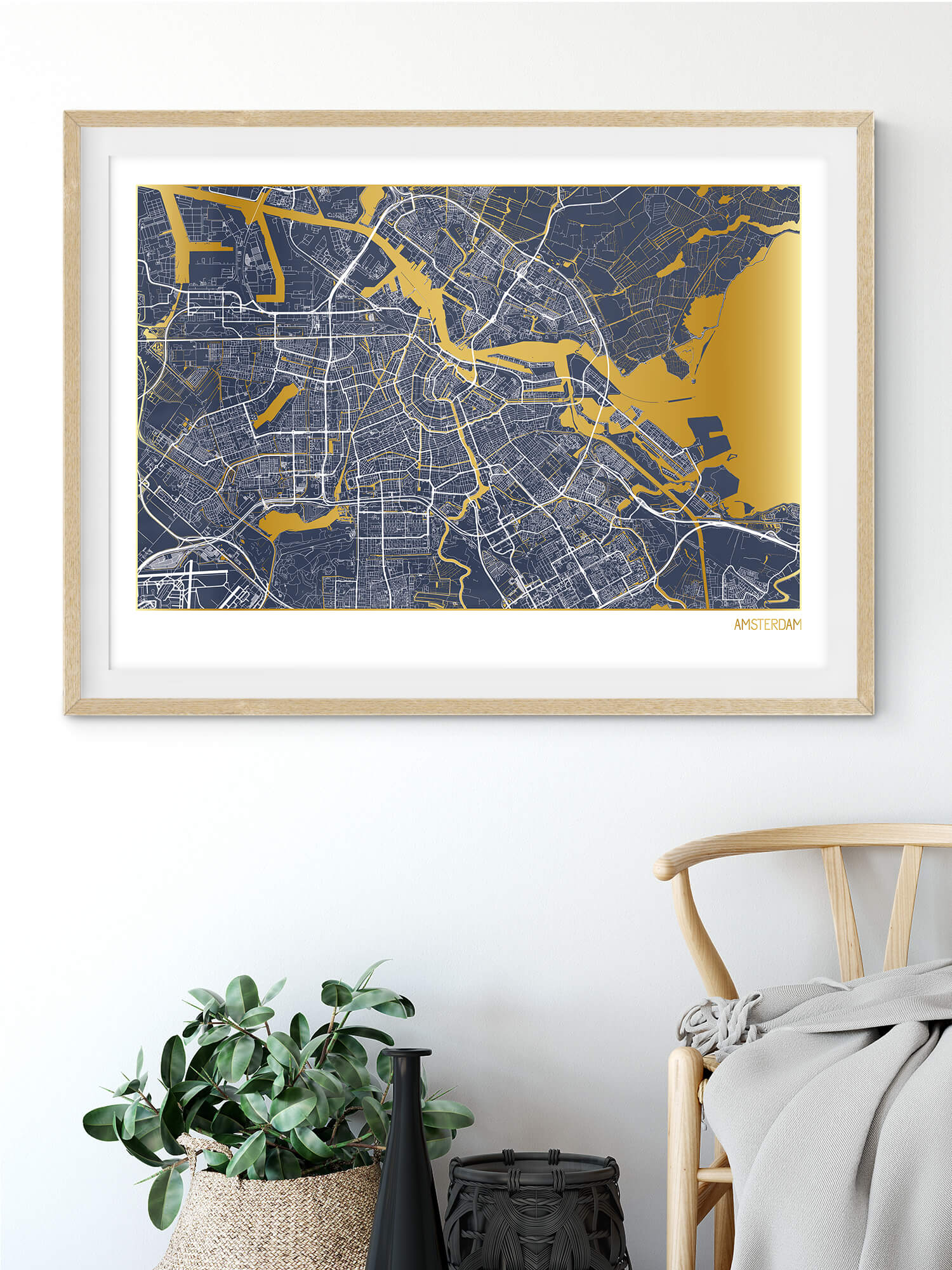 Amsterdam Gold Map Print in Navy | Beautiful gold wall art
