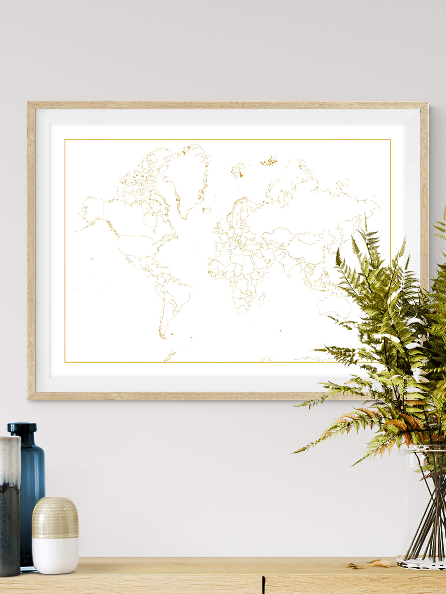Golden World Map, Detailed World Map Print, World Map Poster, Travel Map