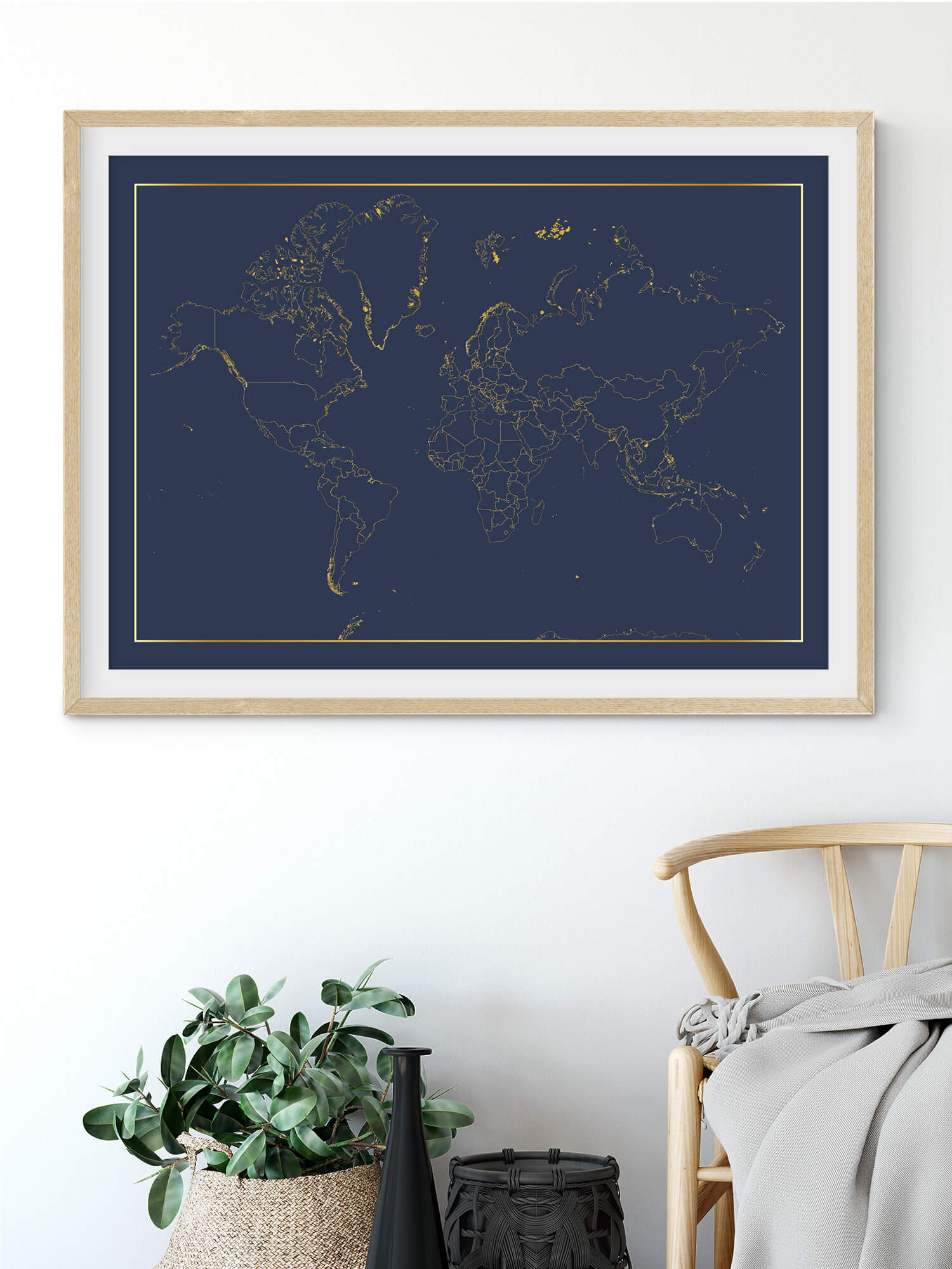 stunning map of the world in real gold foil_blue background