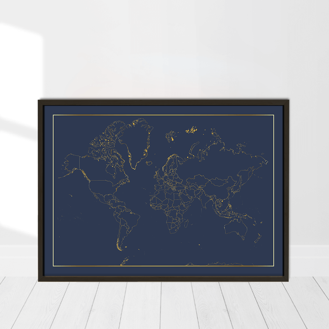world map with real gold foil