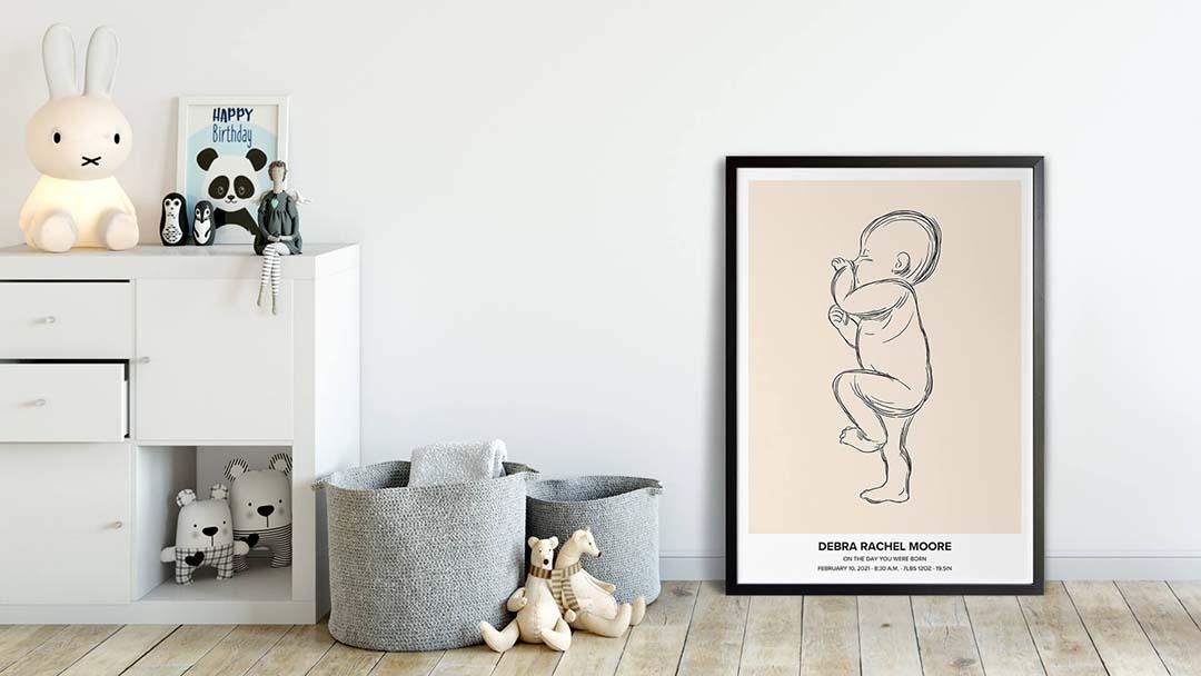 Baby poster in kidsroom