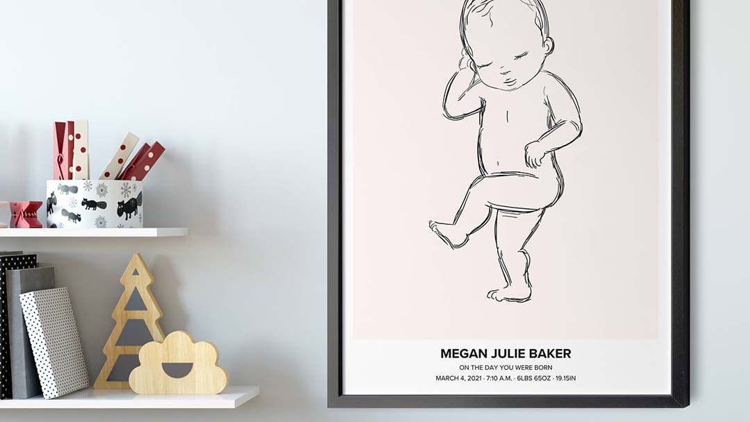The image is printed on the poster in perfect 1:1 scale so the size of your child is accurately shown.