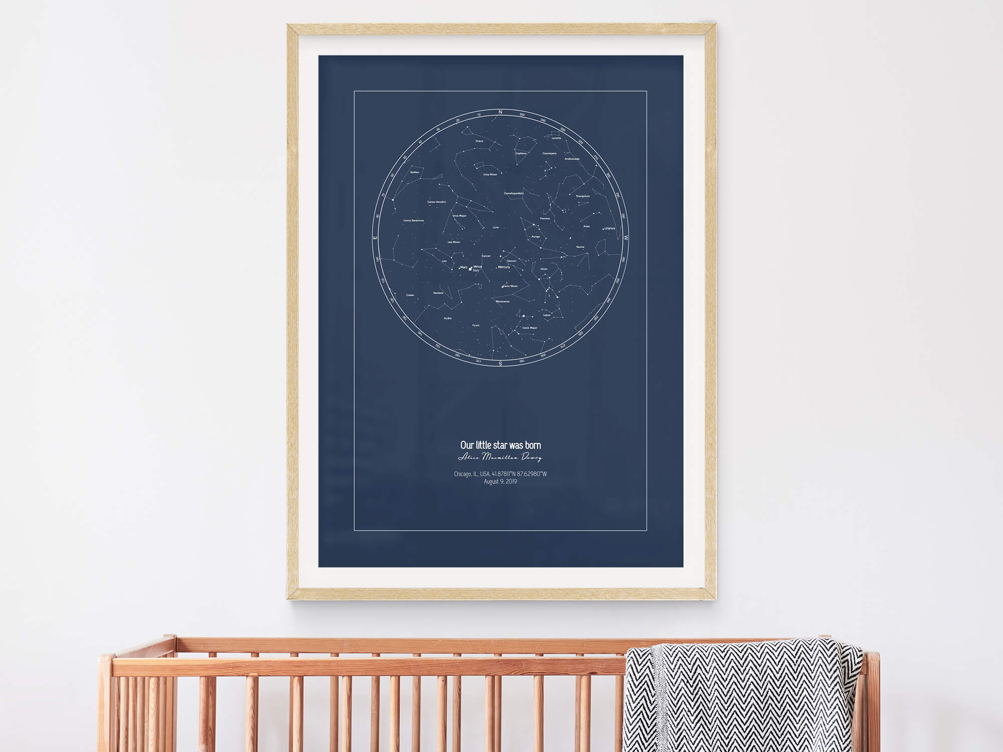 Star map of a baby with name that means star