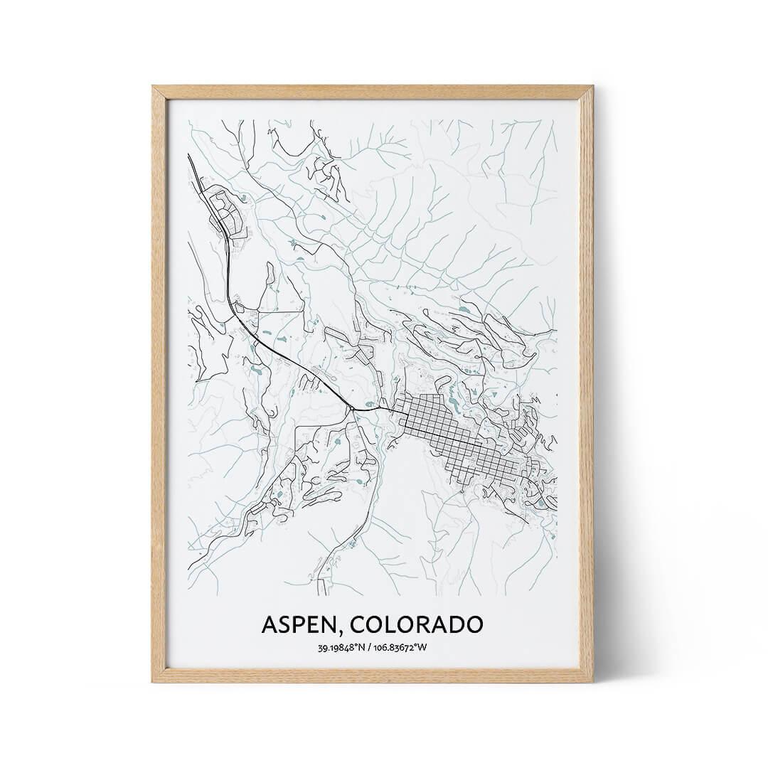 Aspen city map poster