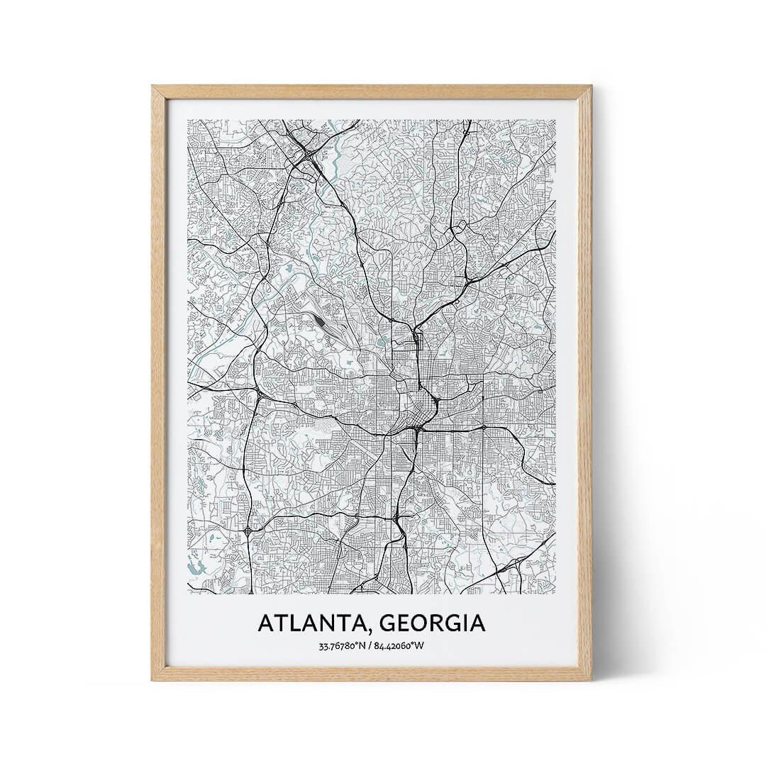 Atlanta city map poster