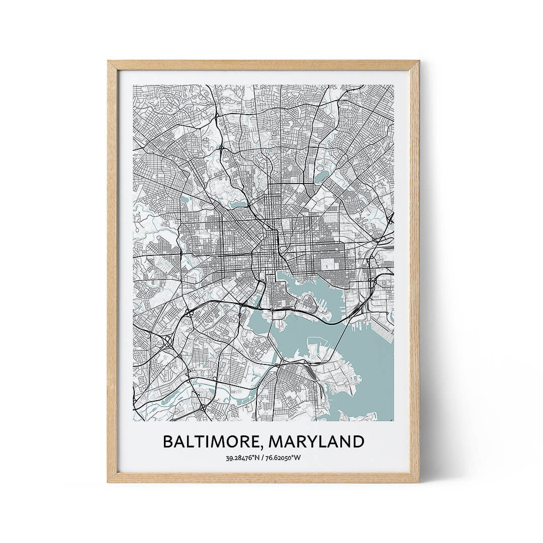 Baltimore city map poster
