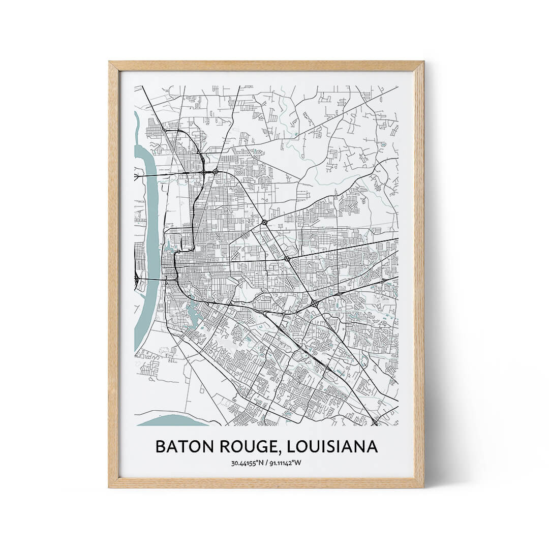 Baton Rouge city map poster