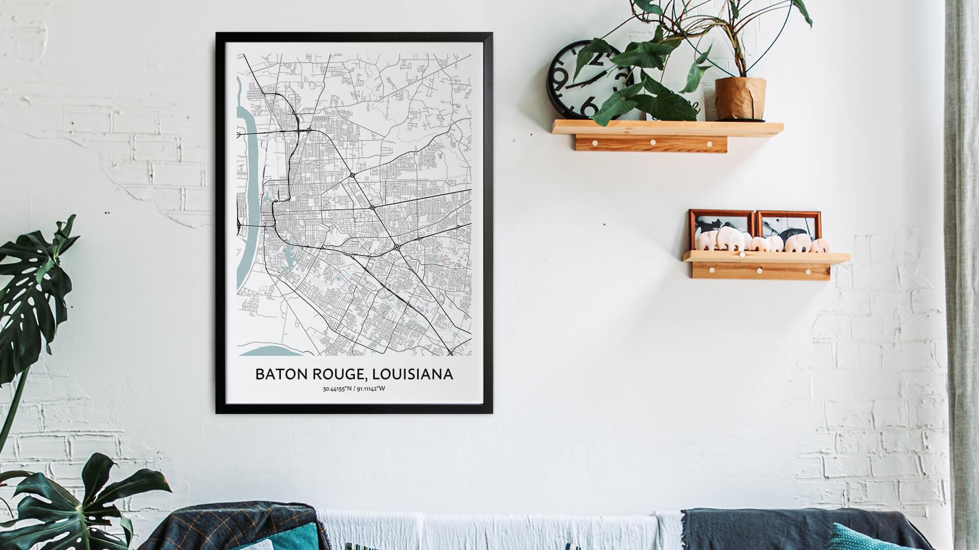 Baton Rouge map art