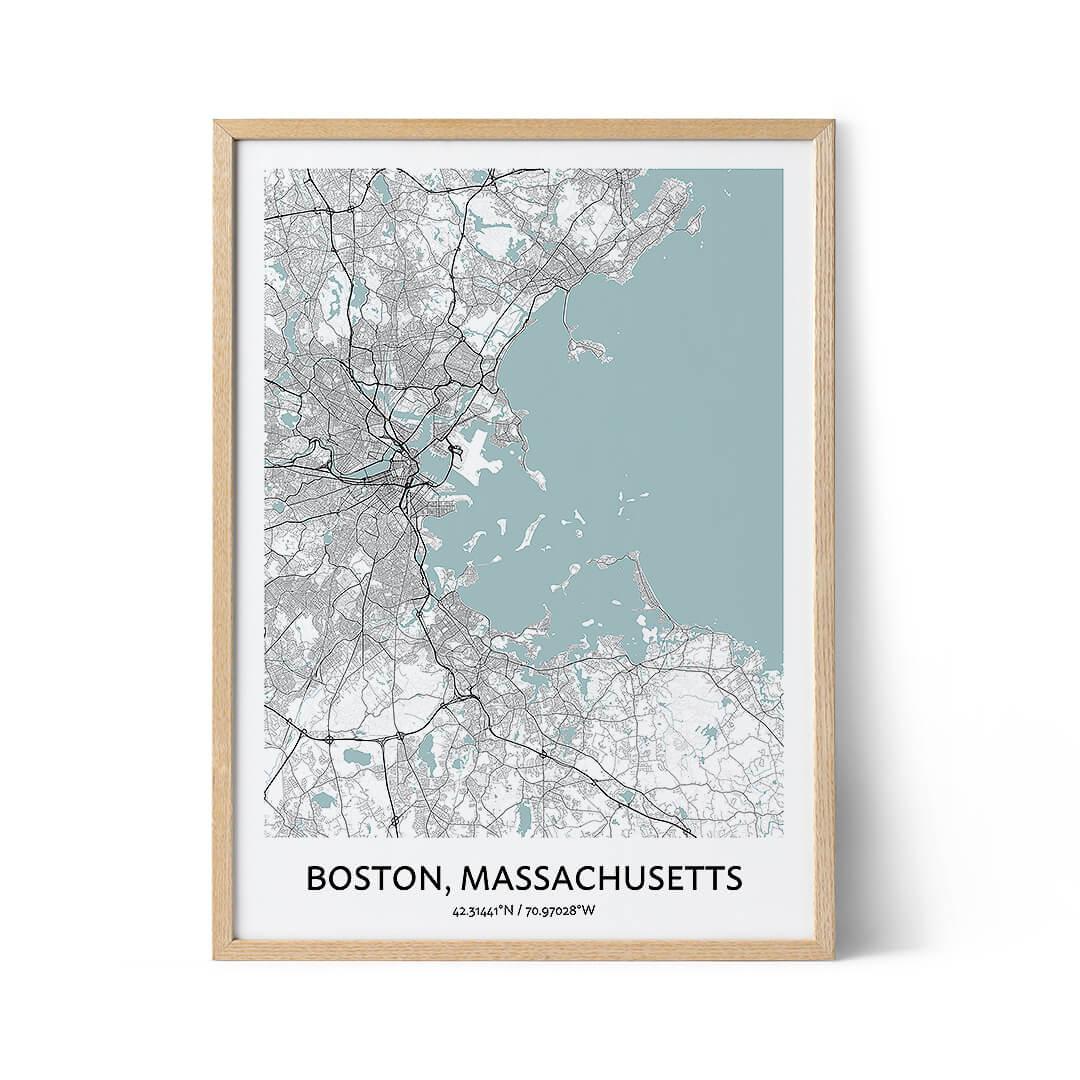 Boston city map poster