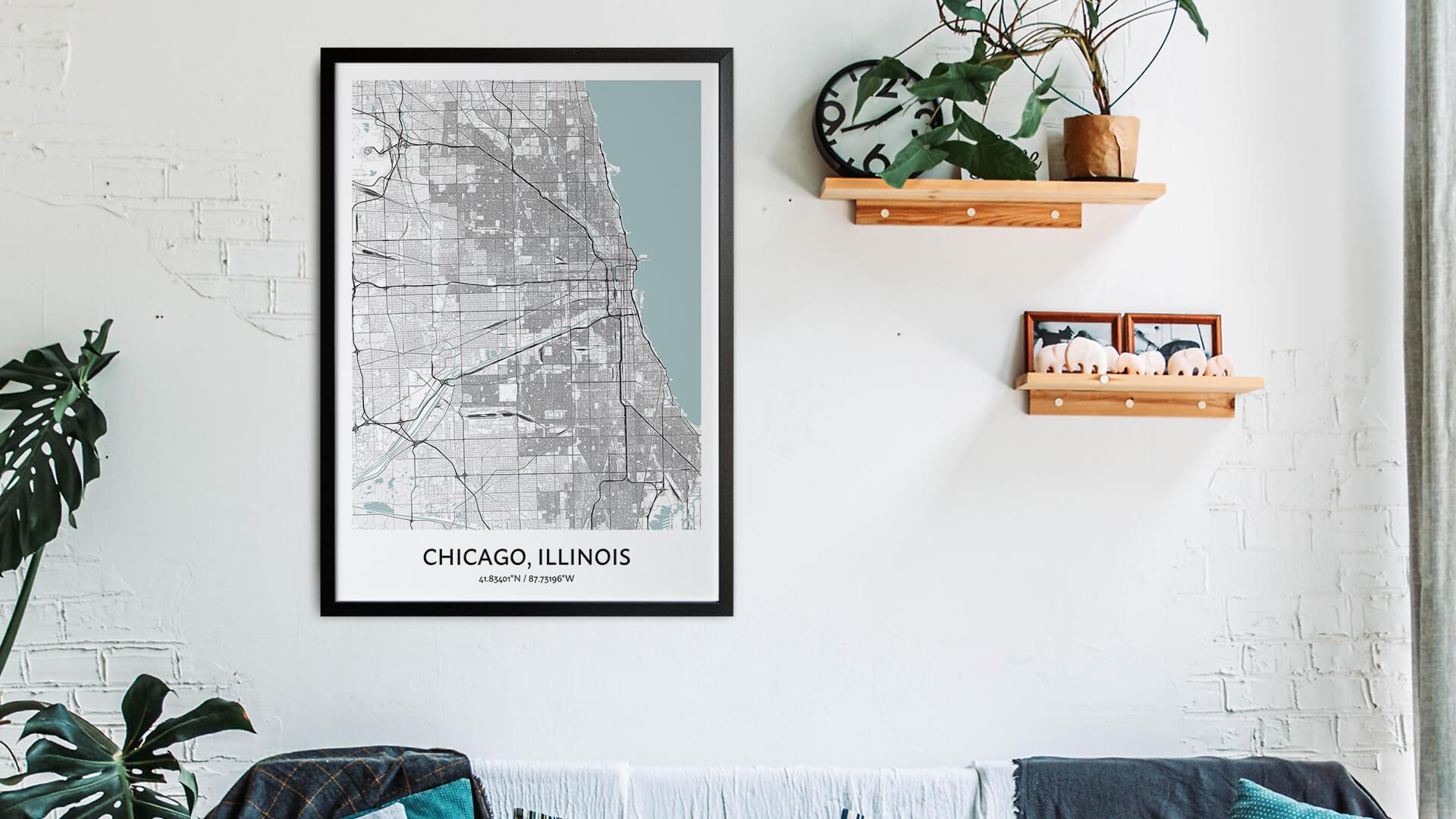 Chicago city map art