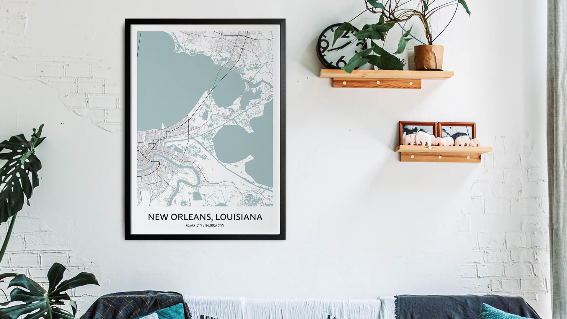 New Orleans map art