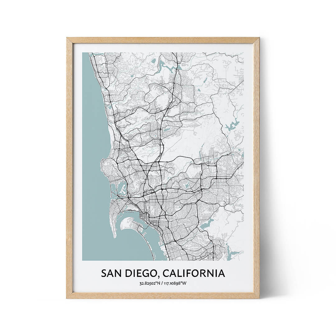 San Diego city map poster