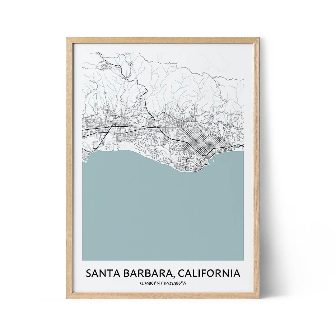 Santa Barbara city map poster