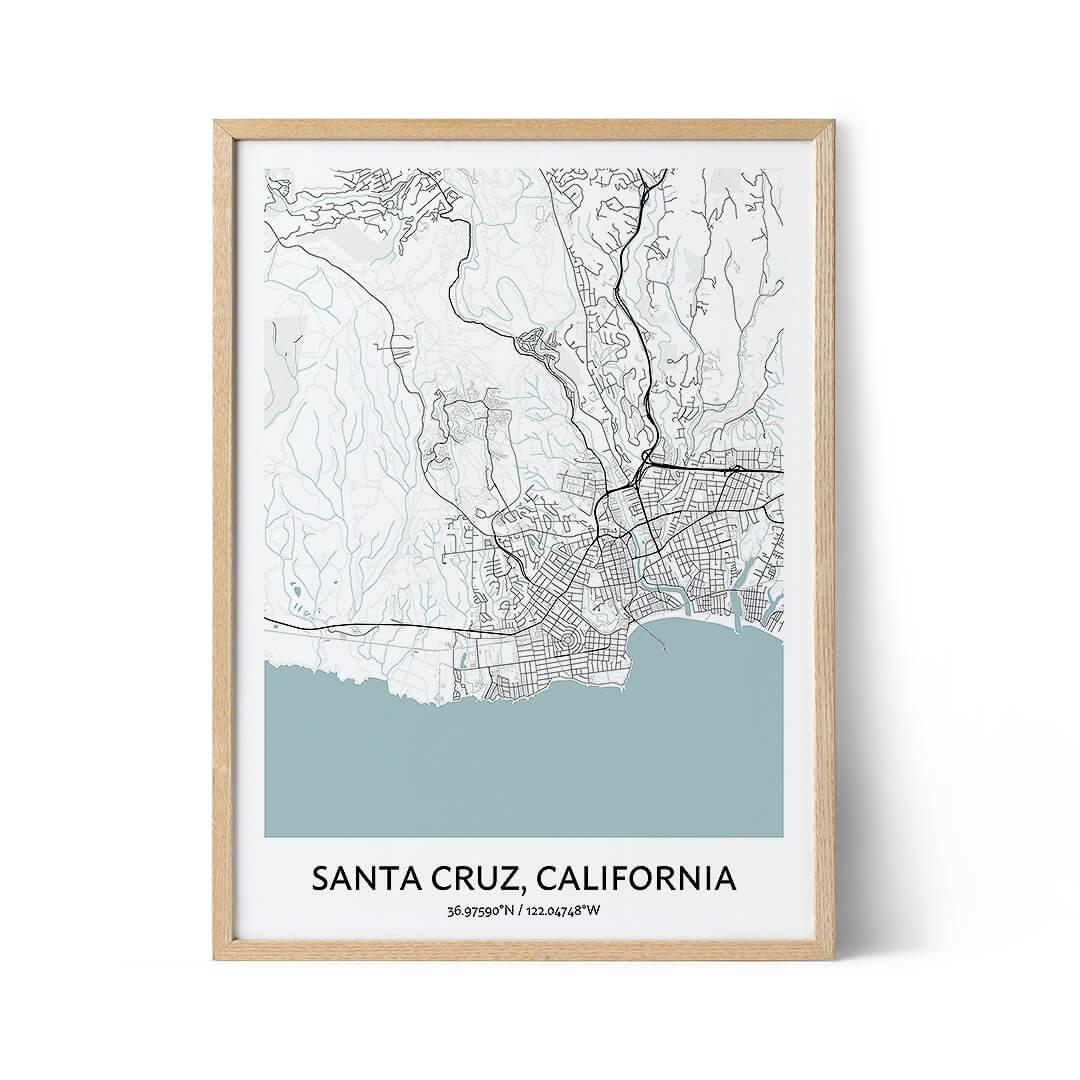 Santa Cruz city map poster