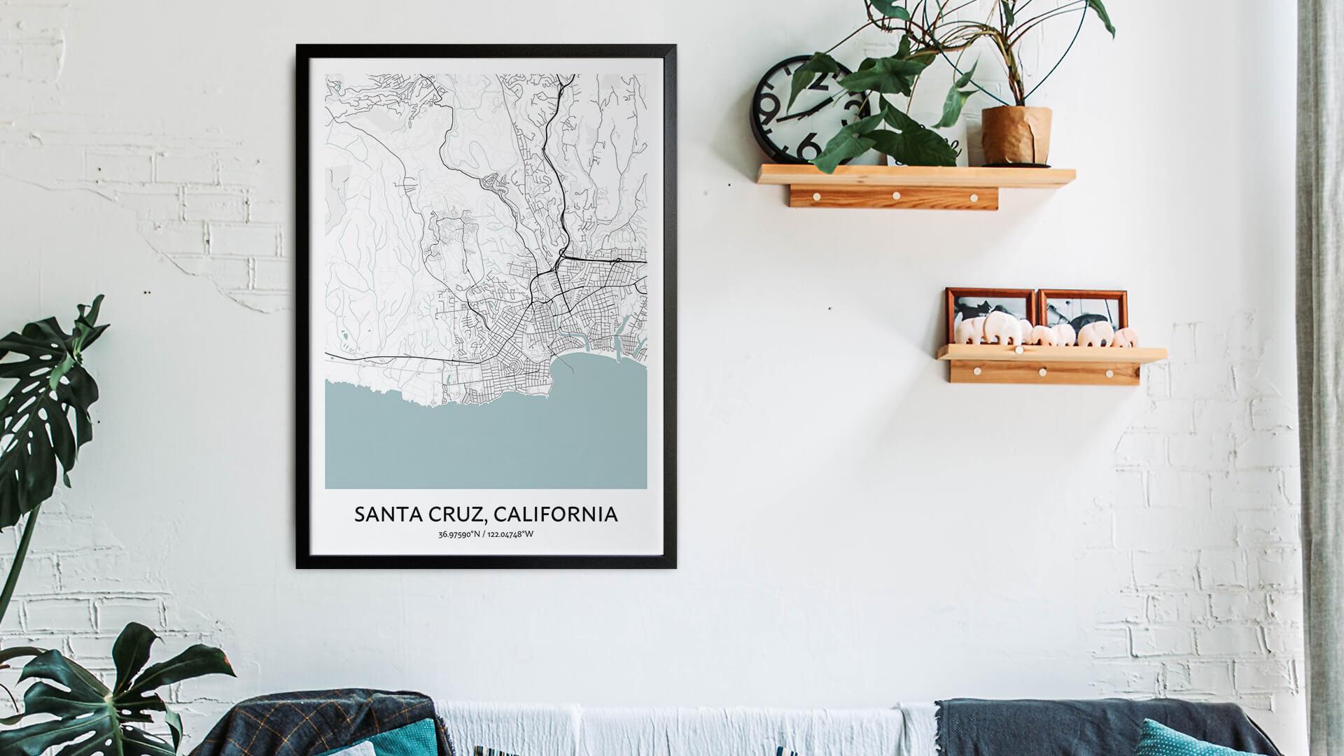 Santa Cruz map art