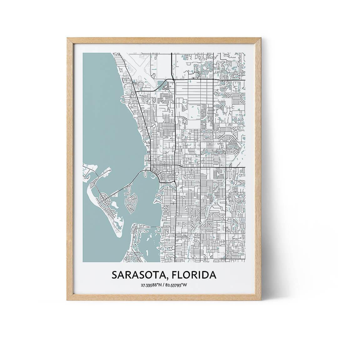Sarasota city map poster