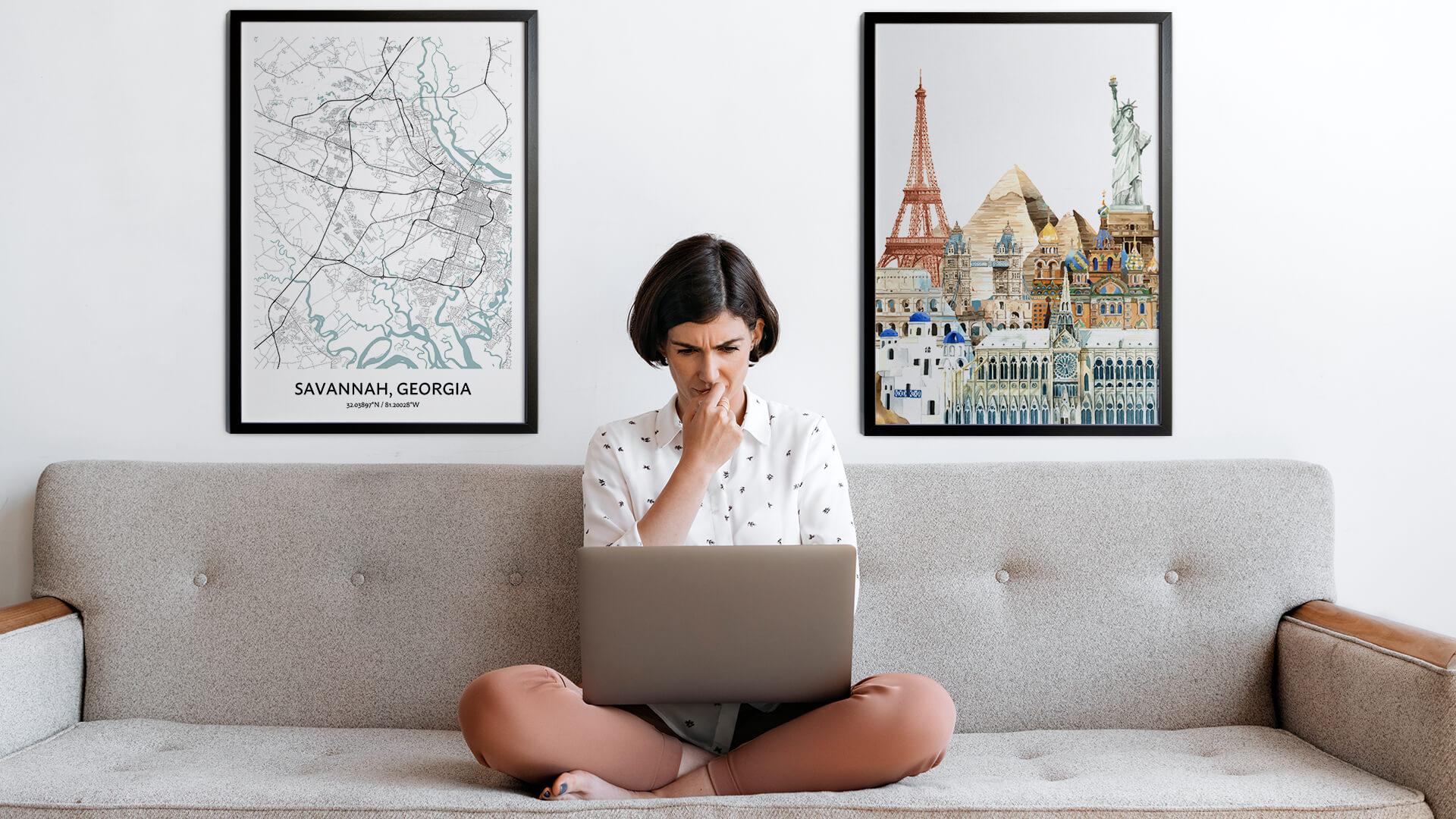 Savannah city map art