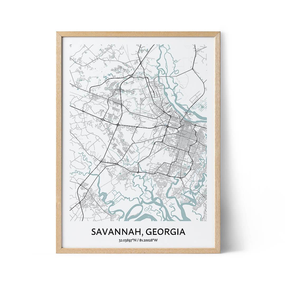 Savannah city map poster