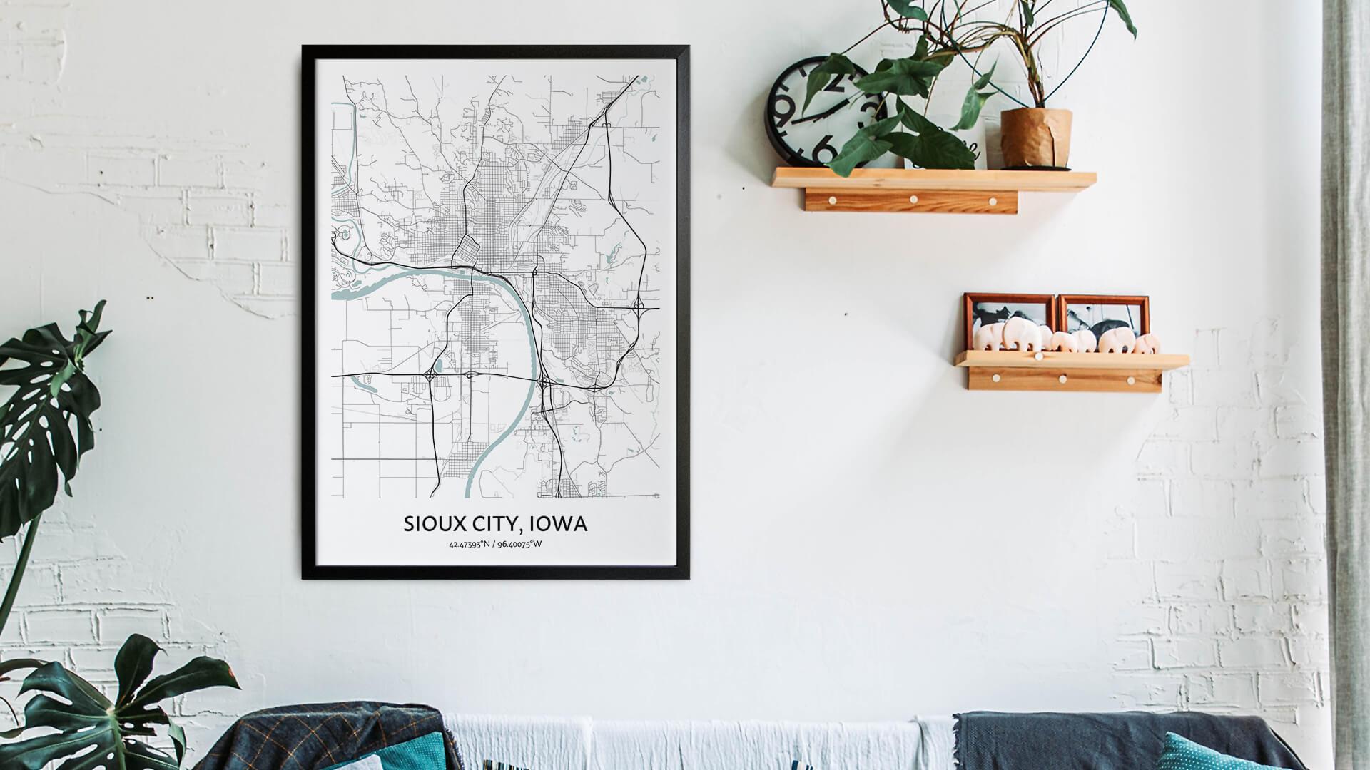 Sioux City map art
