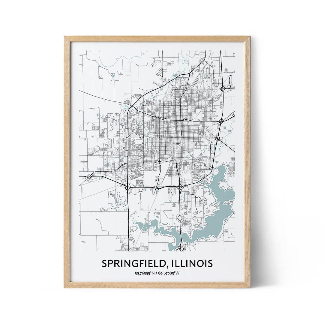Springfield Illinois city map poster