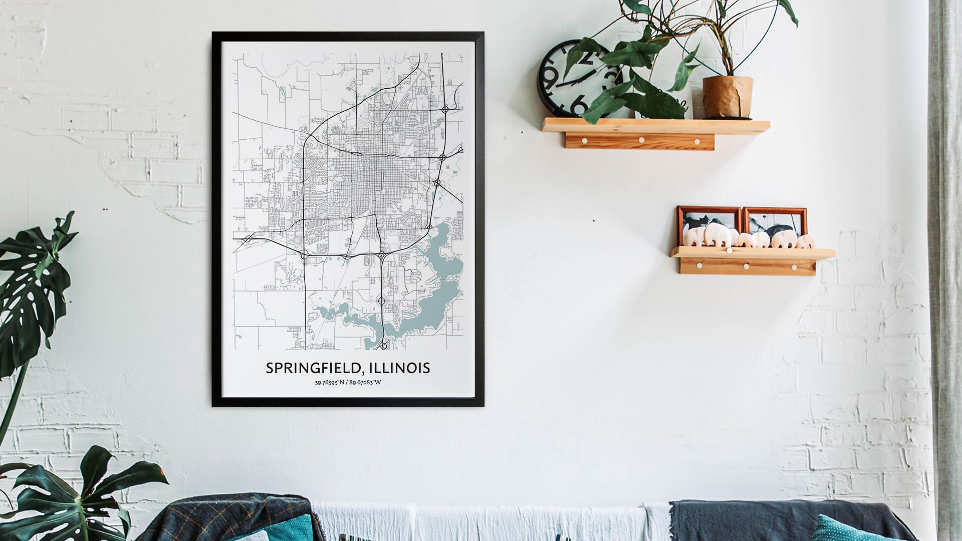 Springfield Illinois map art