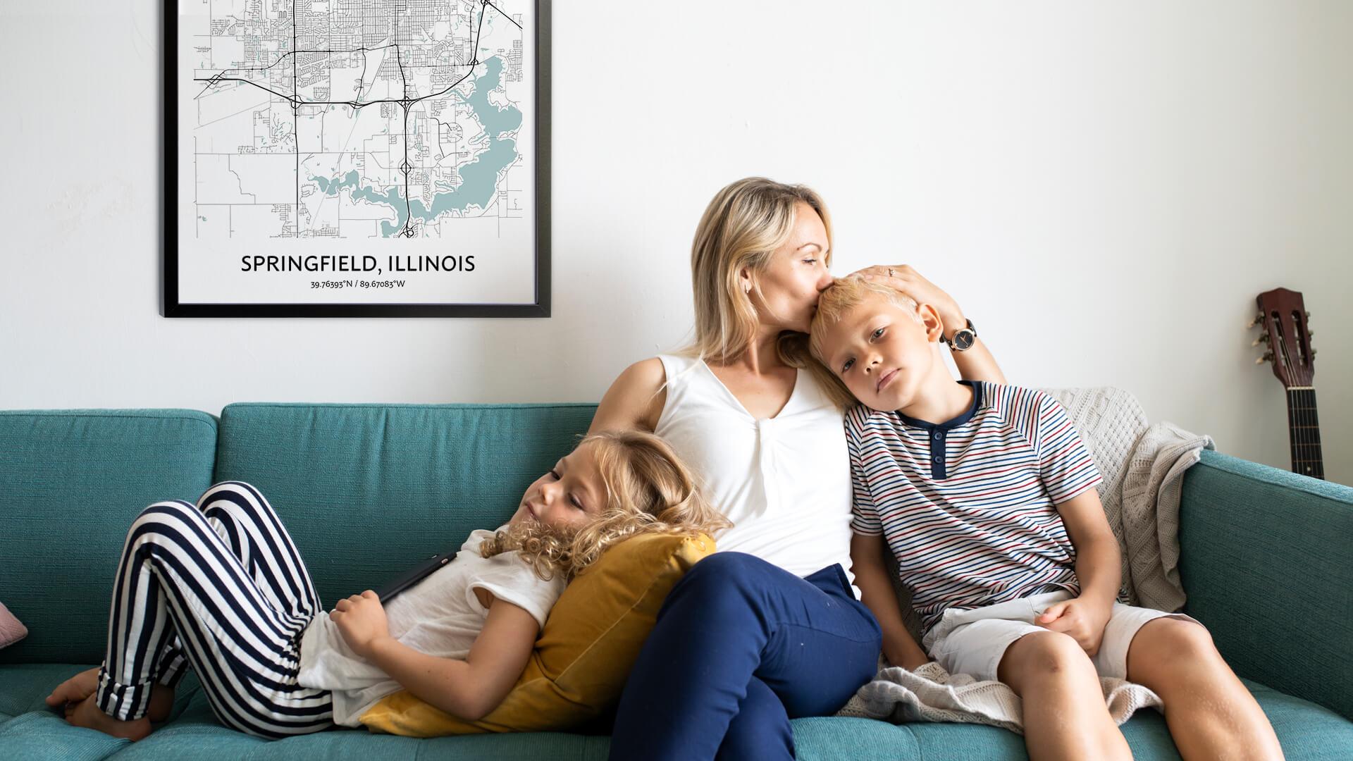 Springfield Illinois map poster
