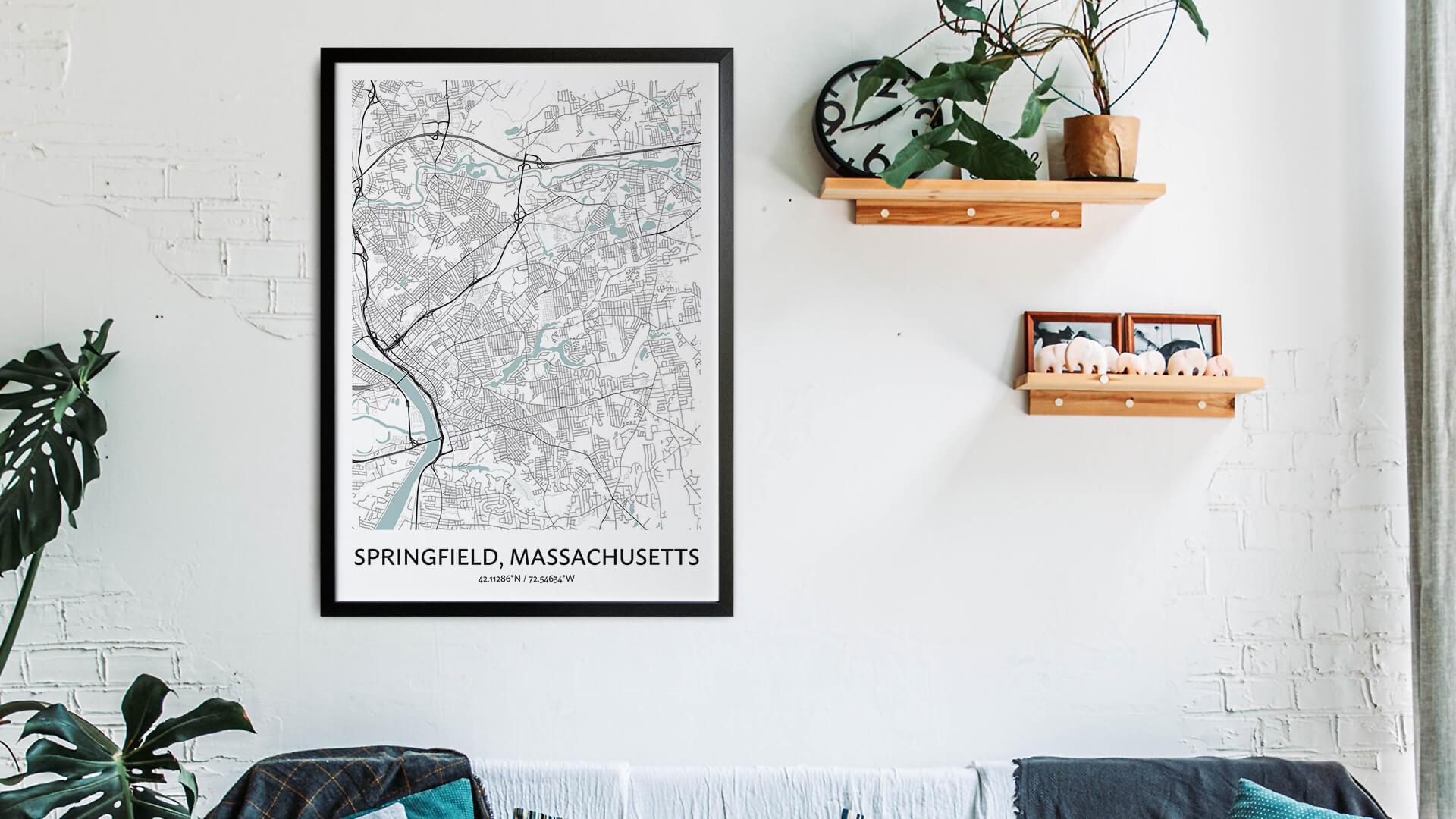 Springfield Massachusetts map art