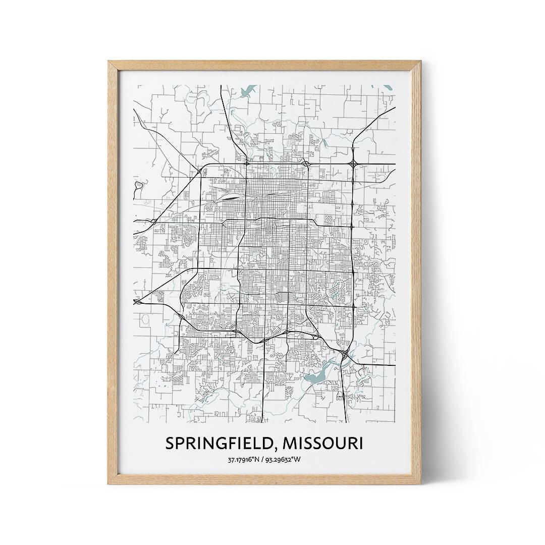 Springfield Missouri city map poster