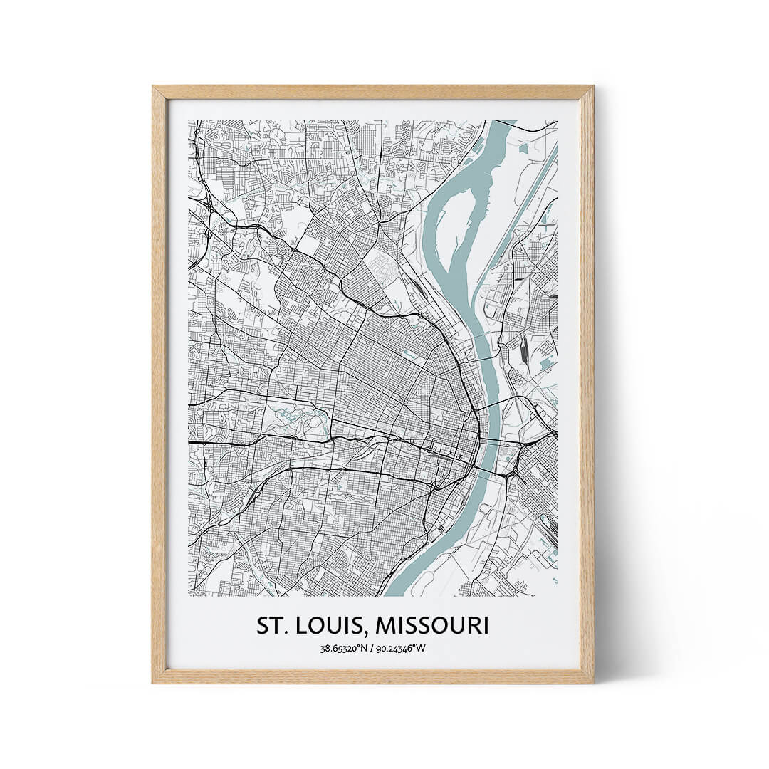 St Louis city map poster