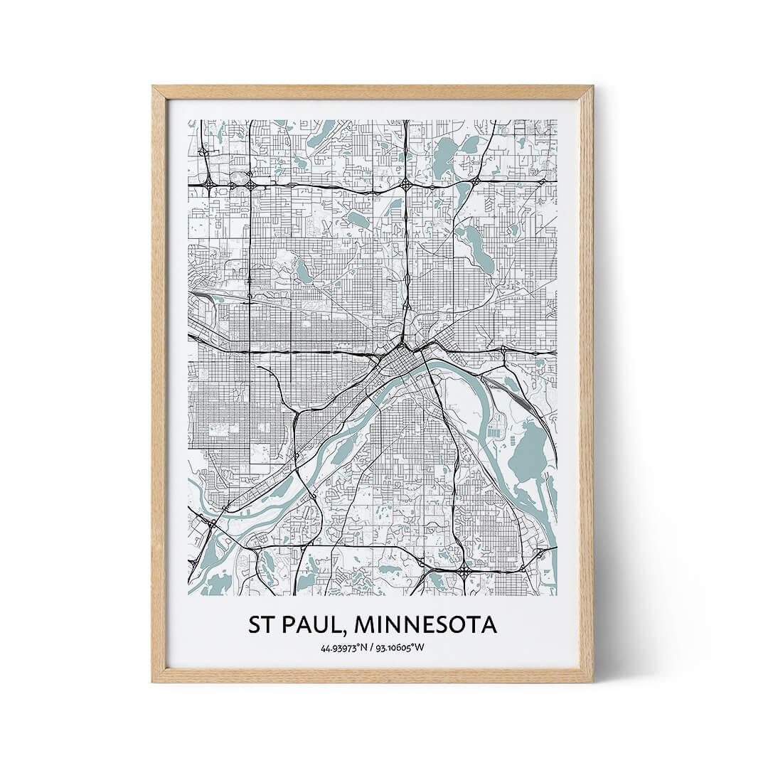 St Paul city map poster