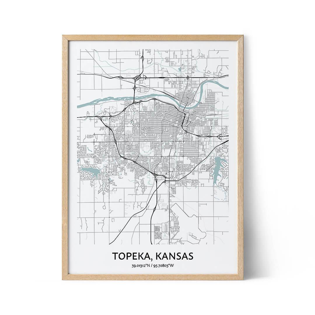 Topeka city map poster