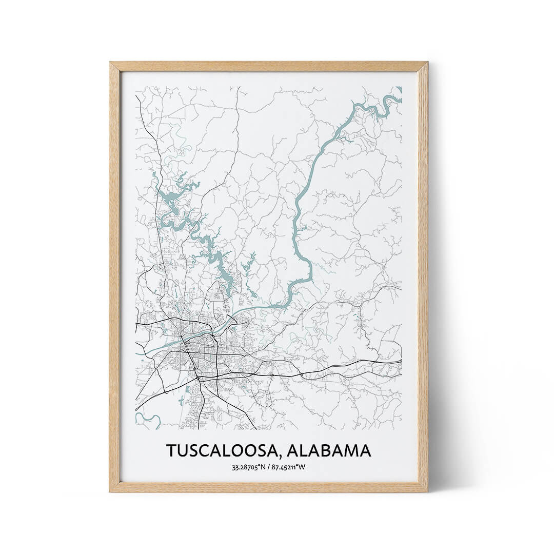 Tuscaloosa city map poster