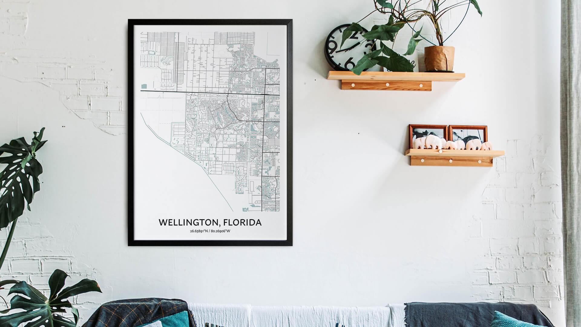 Wellington Florida map art