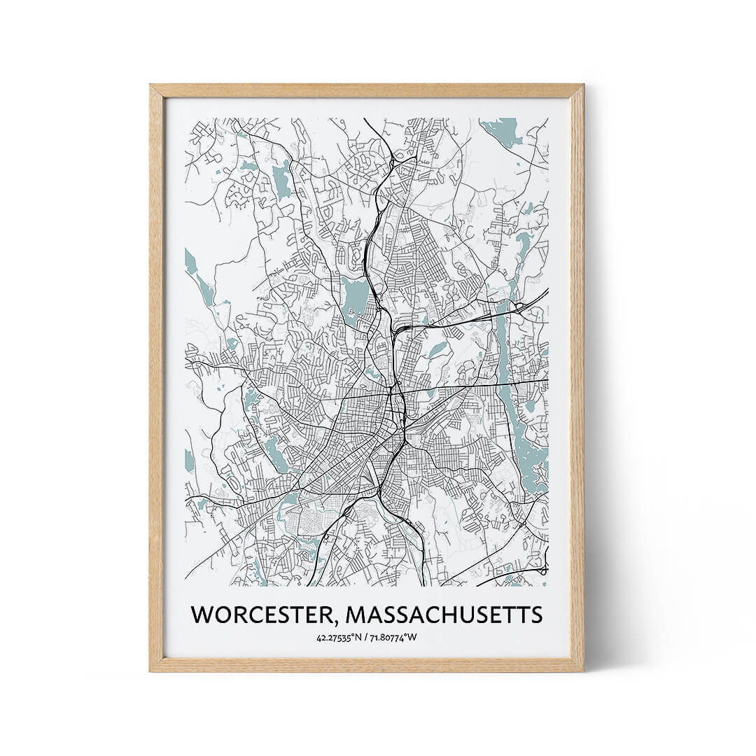 Worcester city map poster