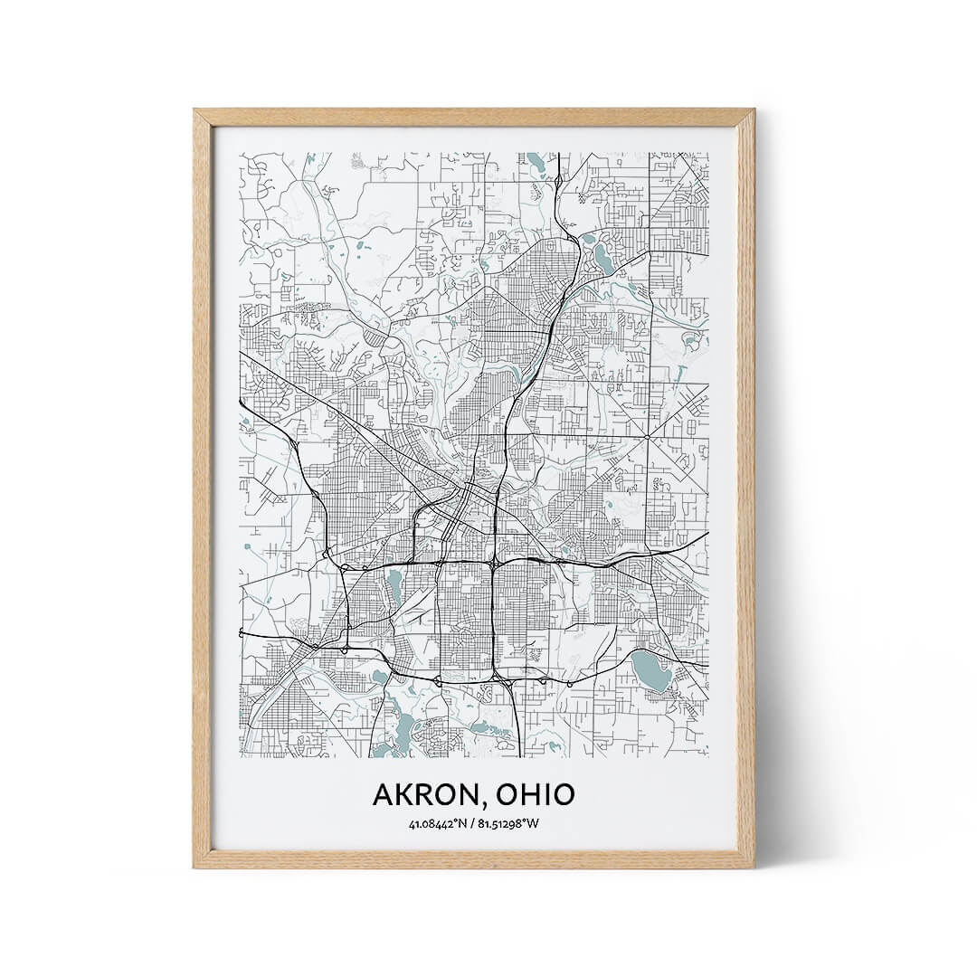 Akron city map poster