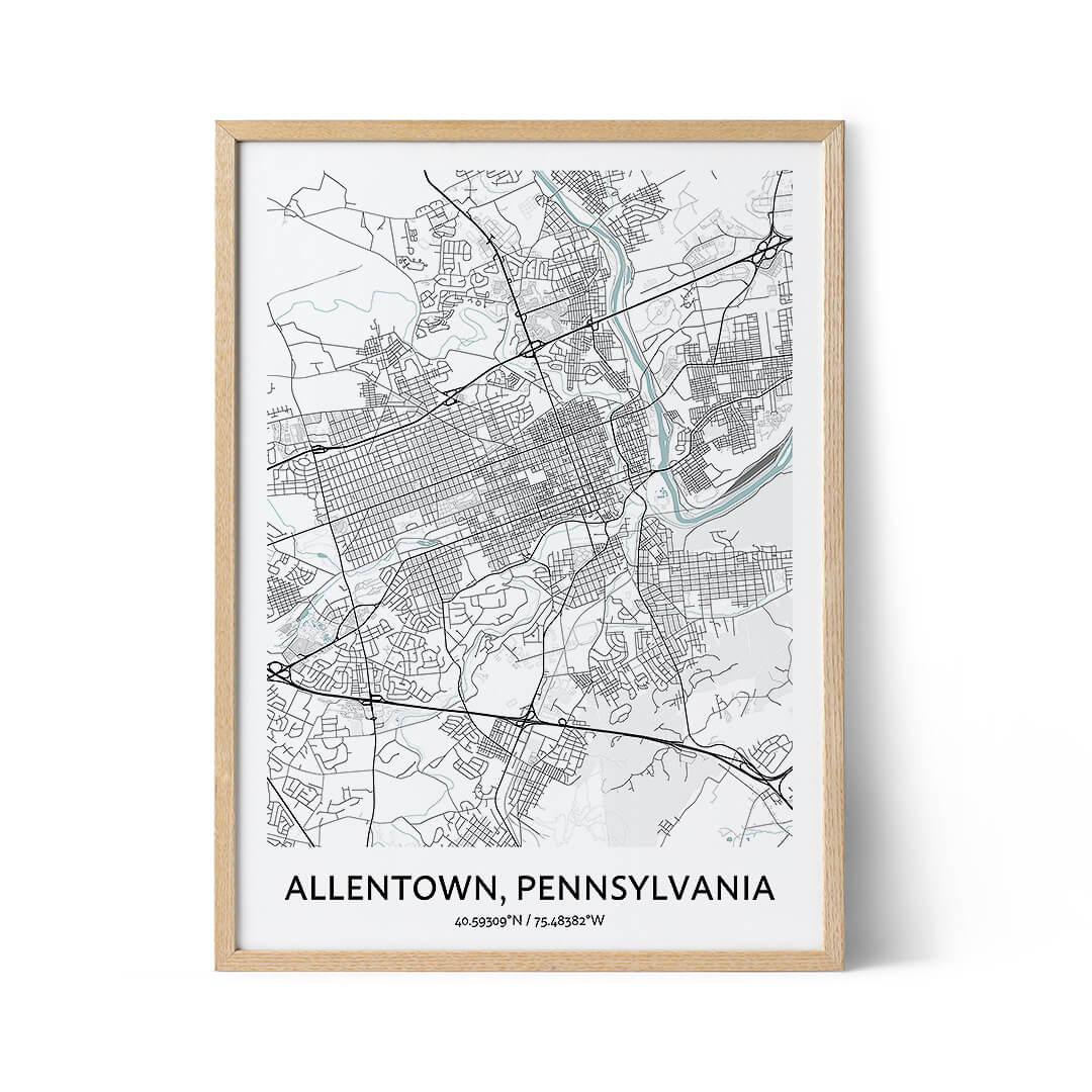 Allentown city map poster