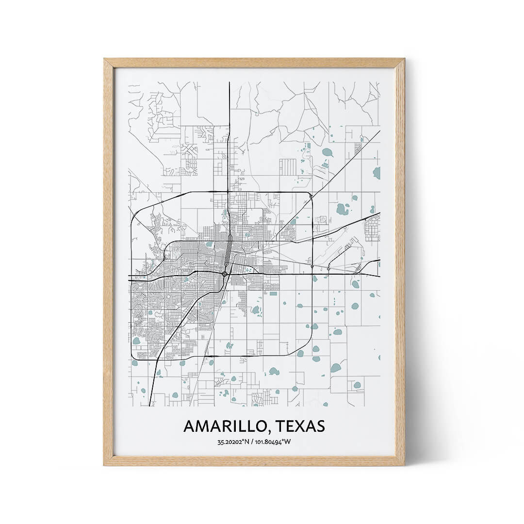 Amarillo city map poster