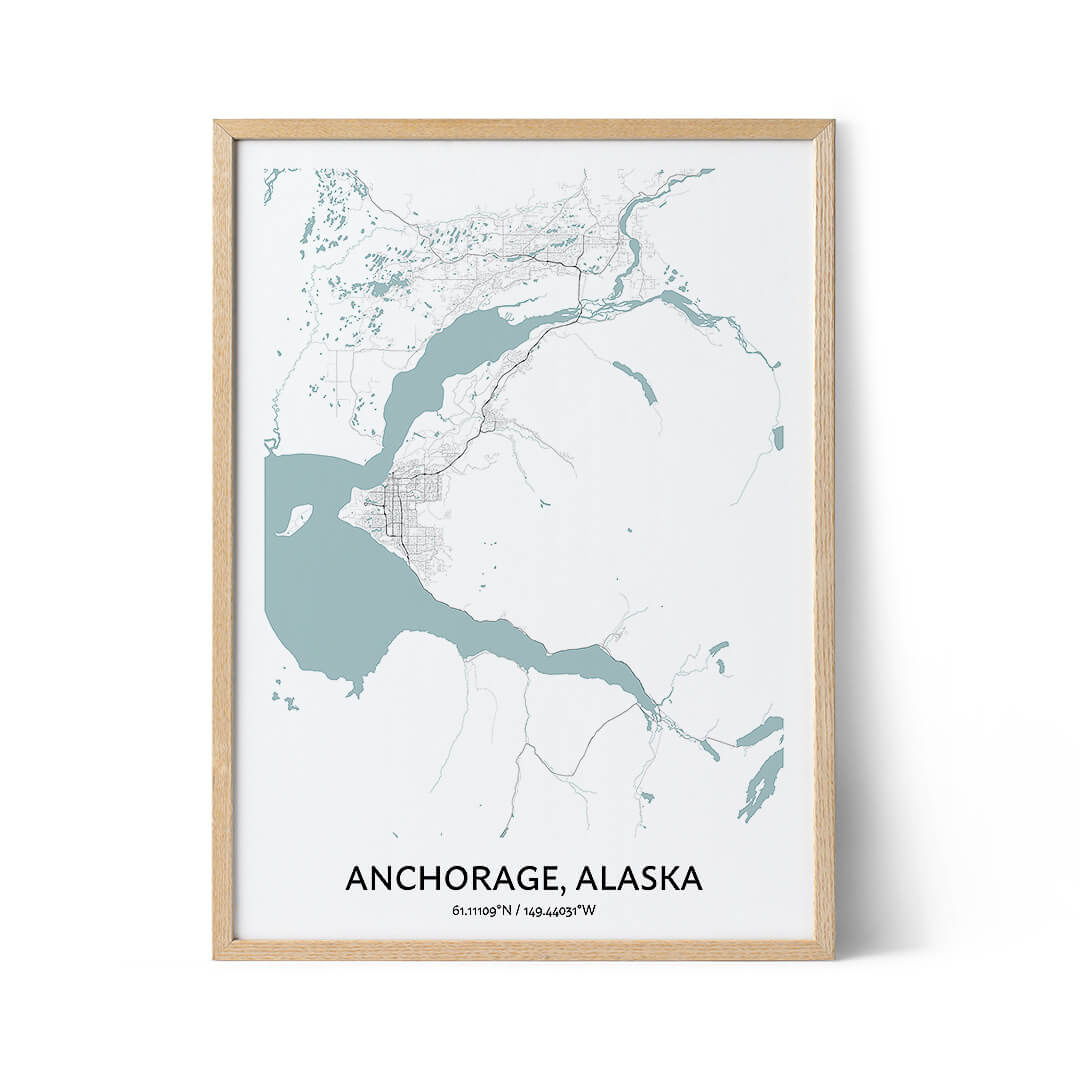 Anchorage city map poster