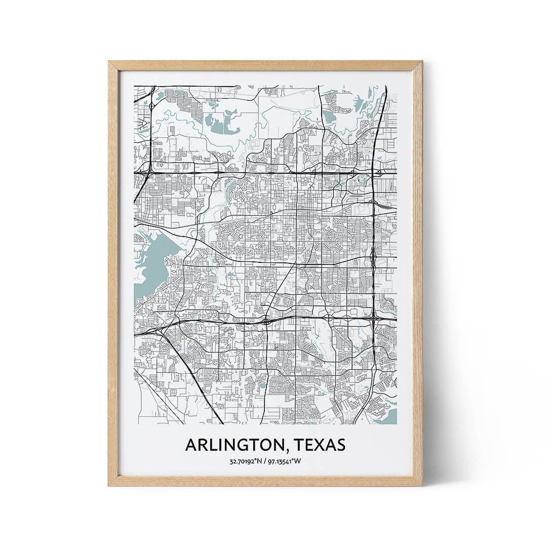 Arlington Texas city map poster