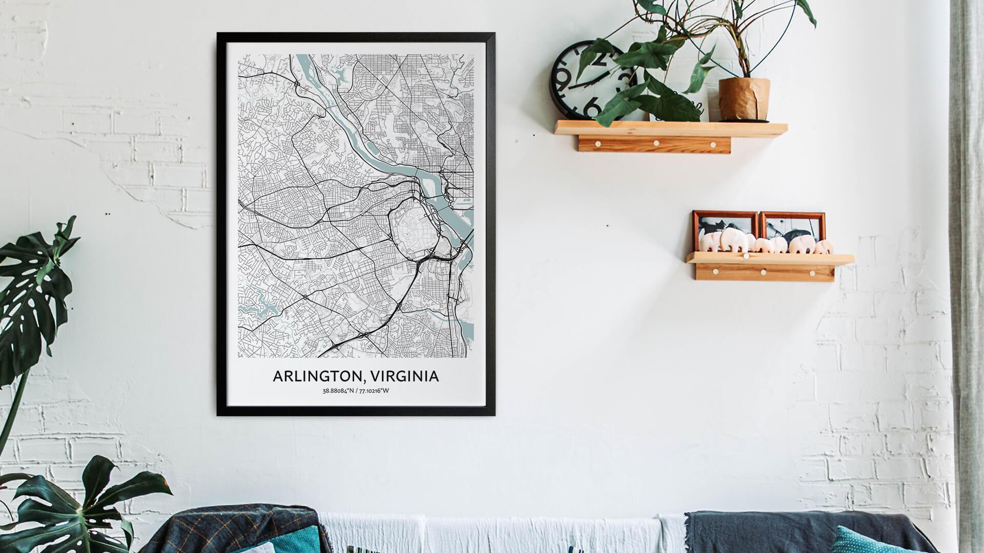 Arlington Virginia map art