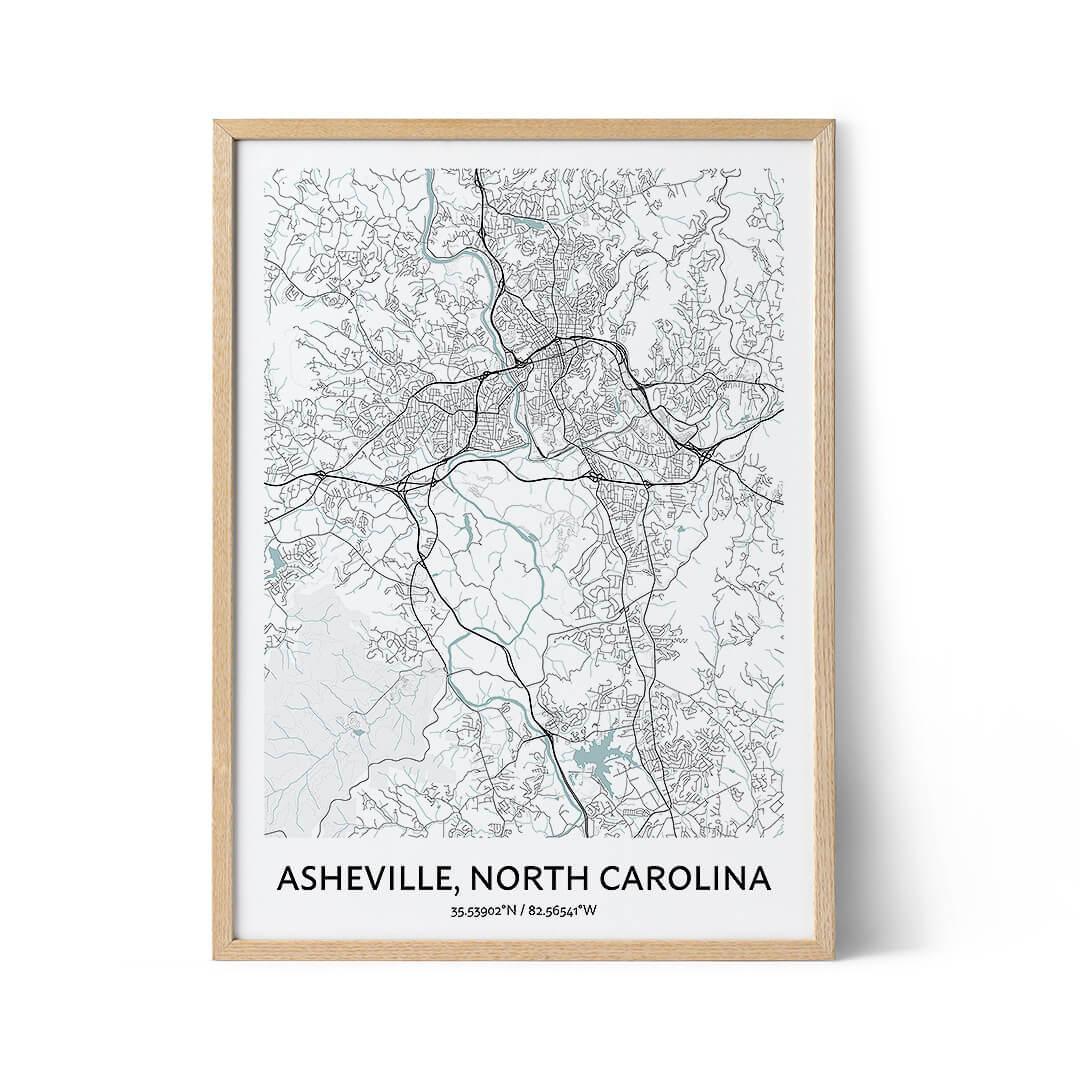 Asheville city map poster