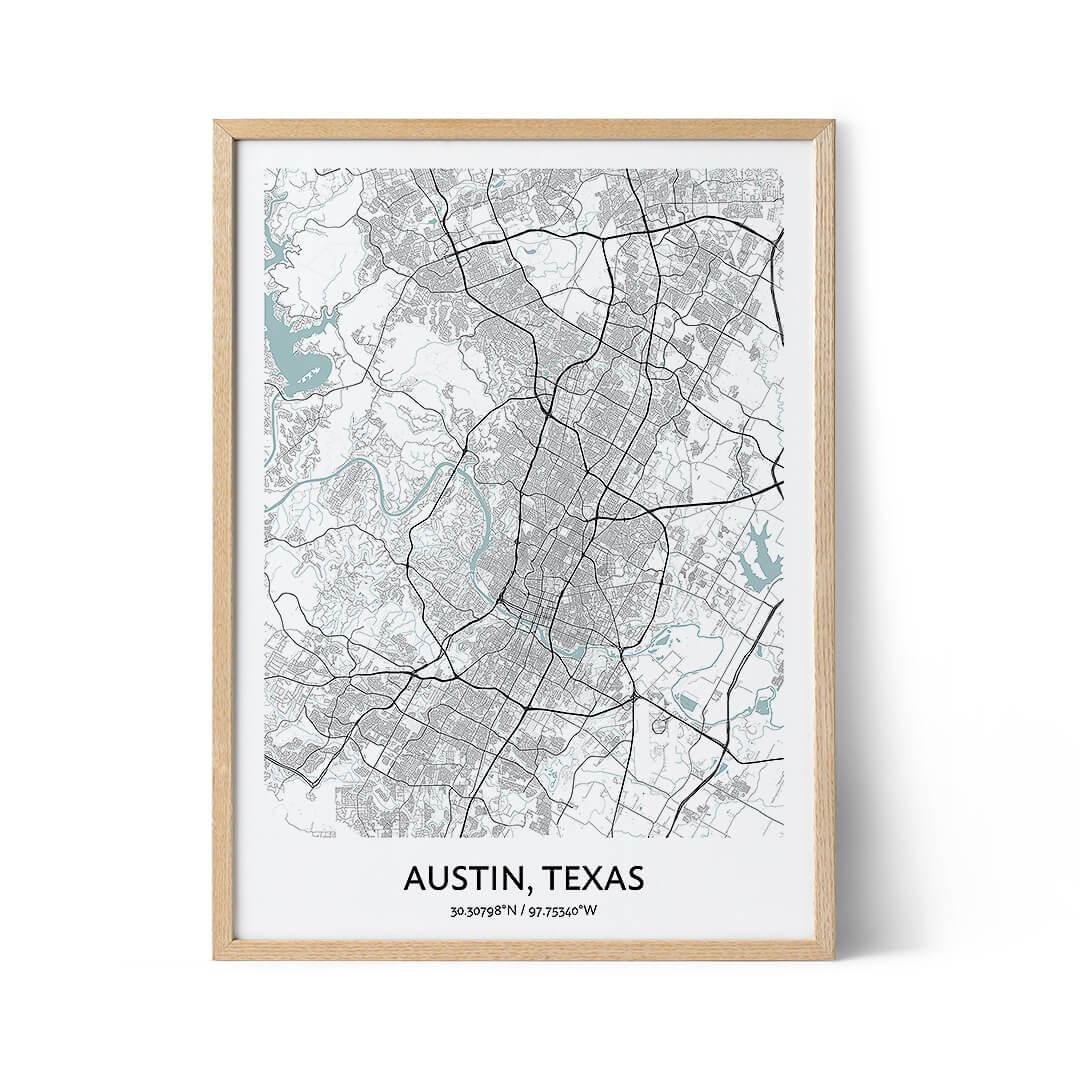 Austin city map poster